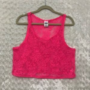 Pink by VS Neon Pink Lace Crop Top